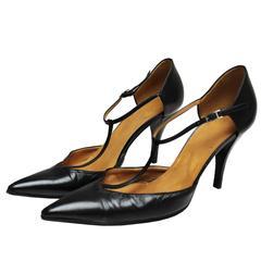 Hermes Black Leather T bar Shoes