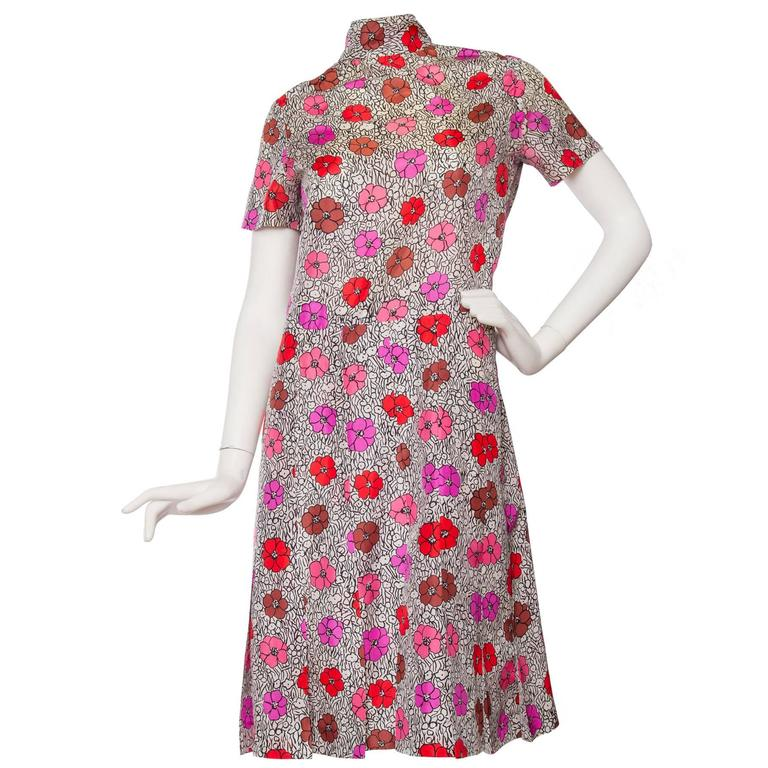 1960s Floral Chanel Haute Couture Dress 1