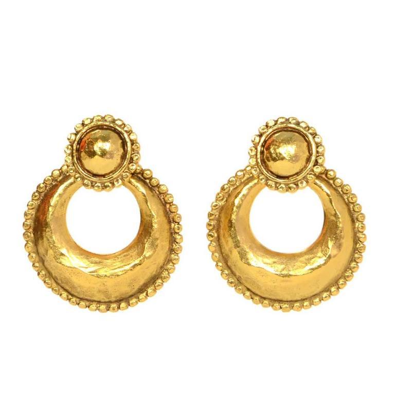 Chanel Vintage '87 Hammered Gold Hoop Clip On Earrings 1