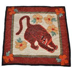 """Carole Little Multi-Color Silk """"Tiger"""" Scarf"""