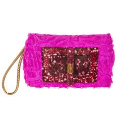 Tom Ford Natalia Fuchsia Broad-tail Fur Clutch with Lucite and Snakeskin Strap