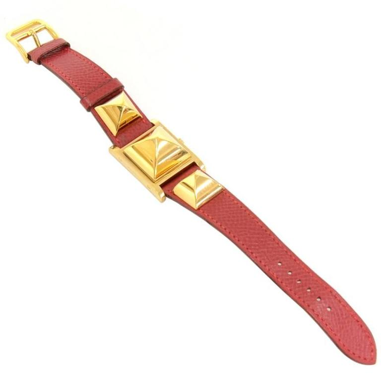 Hermes Medor PM Red Leather x Gold Tone Wrist Watch