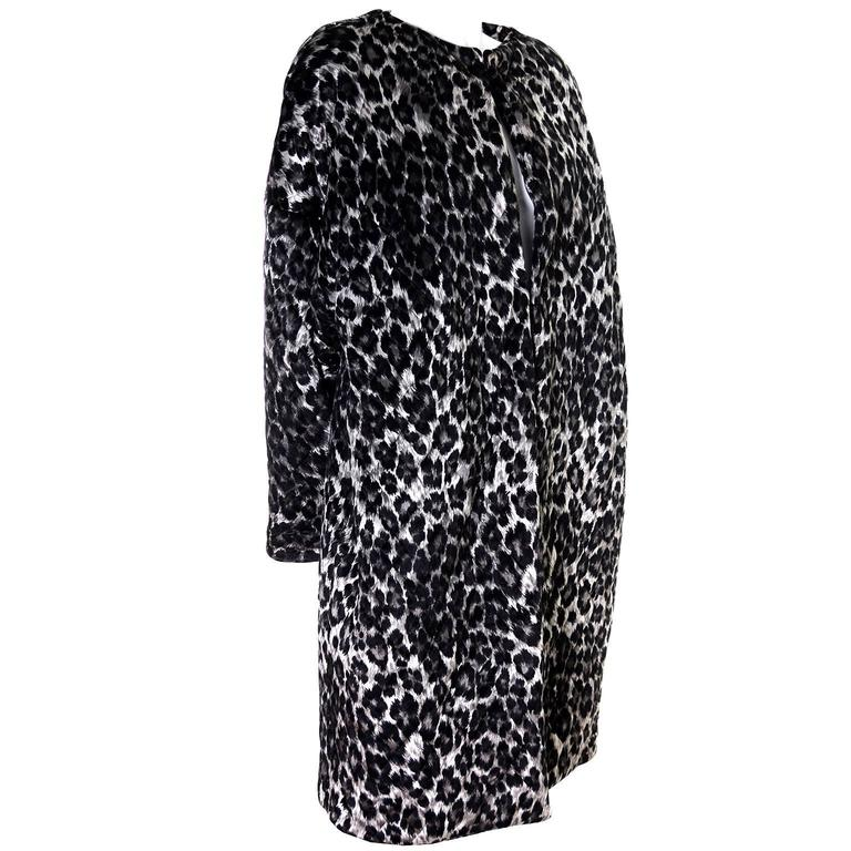 1980s Vintage Patrick Kelly Paris Leopard Print Coat Quilted Silk Lined One Size
