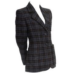 Yves Saint Laurent Plaid Wool Vintage Blazer YSL France Size 42 US 10