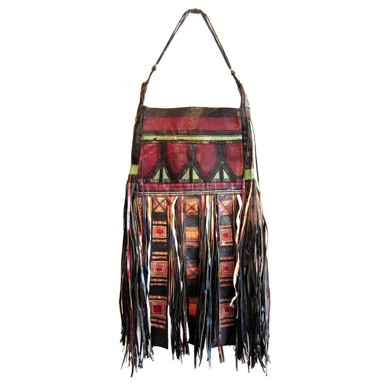 African Tuareg Leather Tribal Pouch Fringe Bag