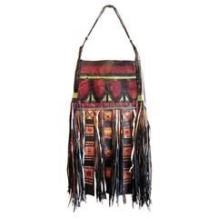 African Tuareg Leather Tribal Pouch Fringe Bag