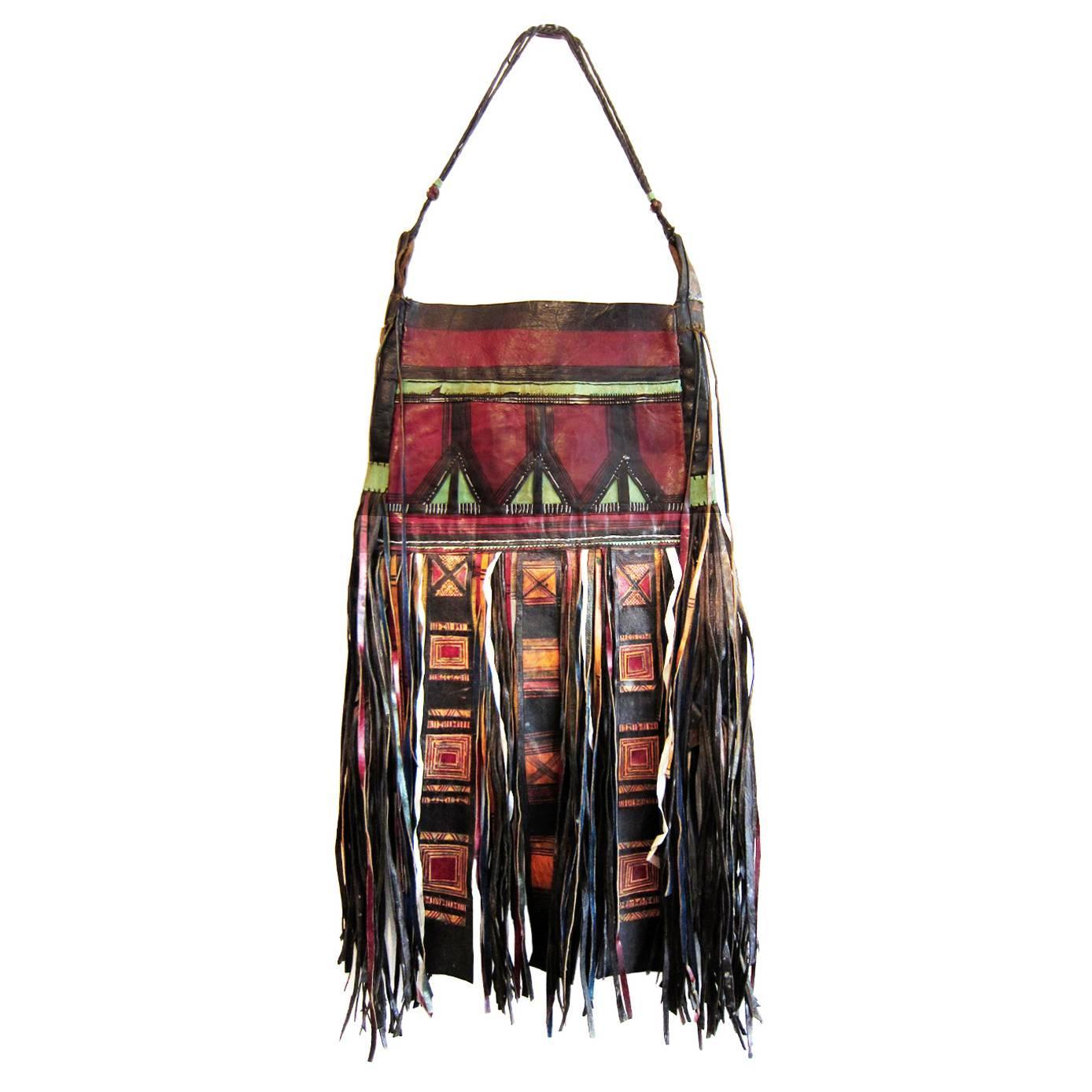 African Tuareg Leather Tribal Pouch Fringe Bag For Sale At