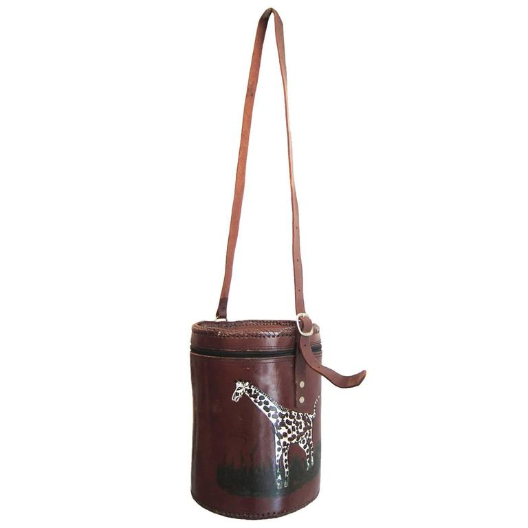 African Hand Painted Giraffes Bucket Bag