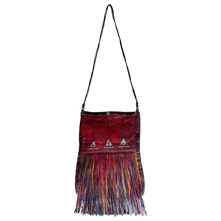 African Tuareg Leather Sahara Tribal Long Fringe Bag