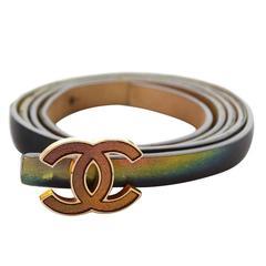 Chanel Hologram Vinyl Thin Belt sz 85 GHW