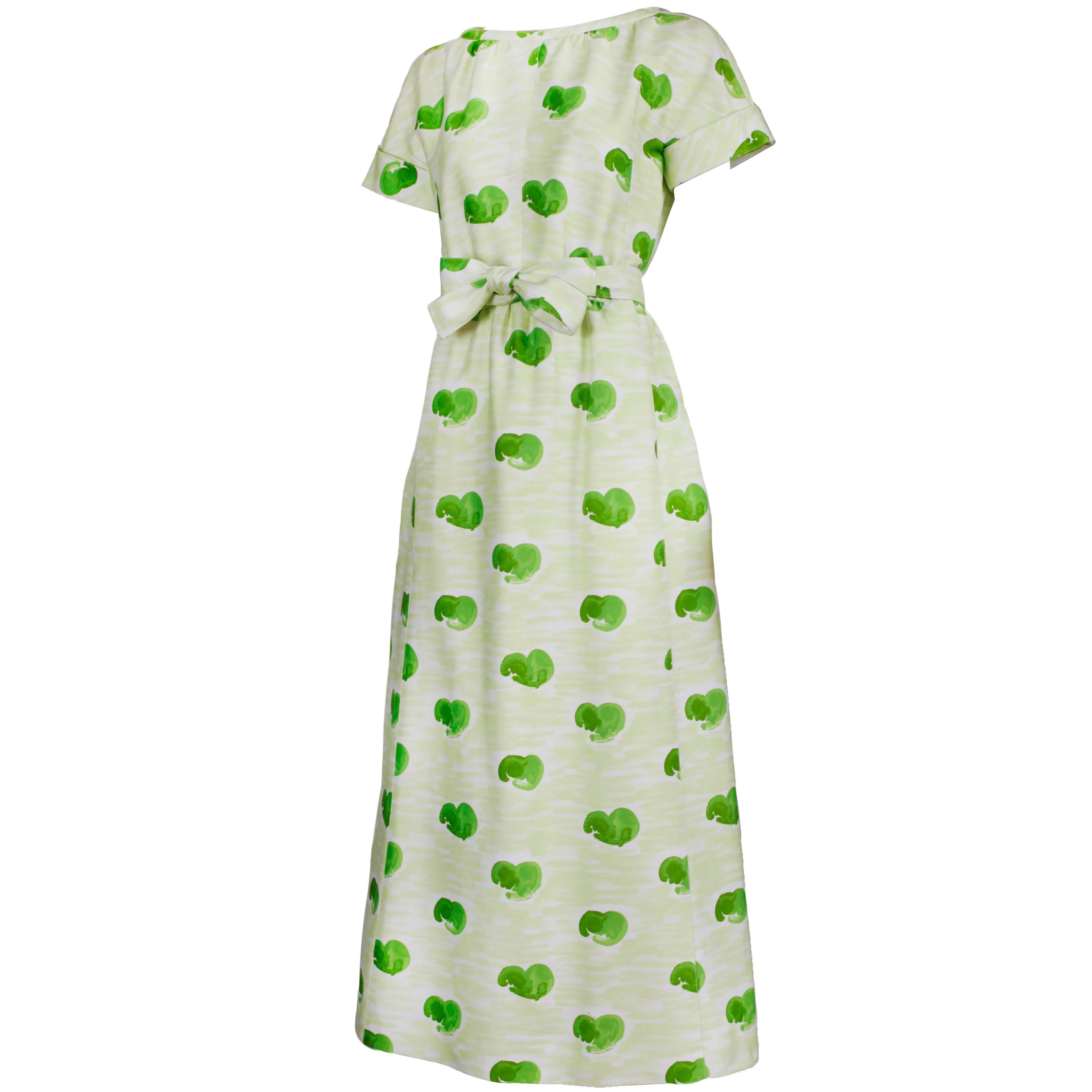 Courreges Polished Cotton Green & White Watercolor Print Day Dress Ca.1975