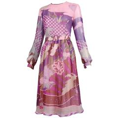Hanae Mori Couture Chiffon Layered Day Dress w/Whimsical Print & Matching Belt