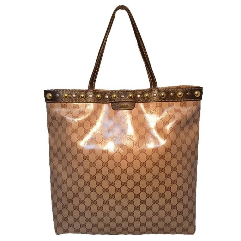 Gucci Monogram Canvas Studded Shopping Brown Tote Bag CecDUYwF