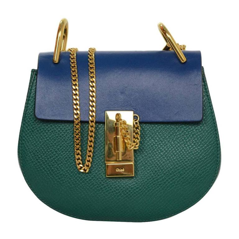 Chloe Blue and Green Bicolor Drew Small Crossbody Bag GHW rt. $1,950 1