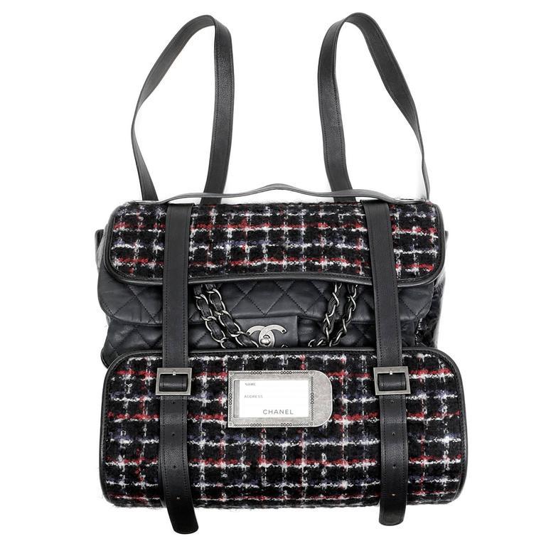 Chanel Black Tweed Runway Rolled Backpack- TWO BAGS 1