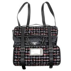 Chanel Black Tweed Runway Rolled Backpack- TWO BAGS