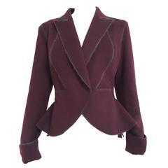 90s Gianfranco Ferre bordeaux double face wool peplum jacket
