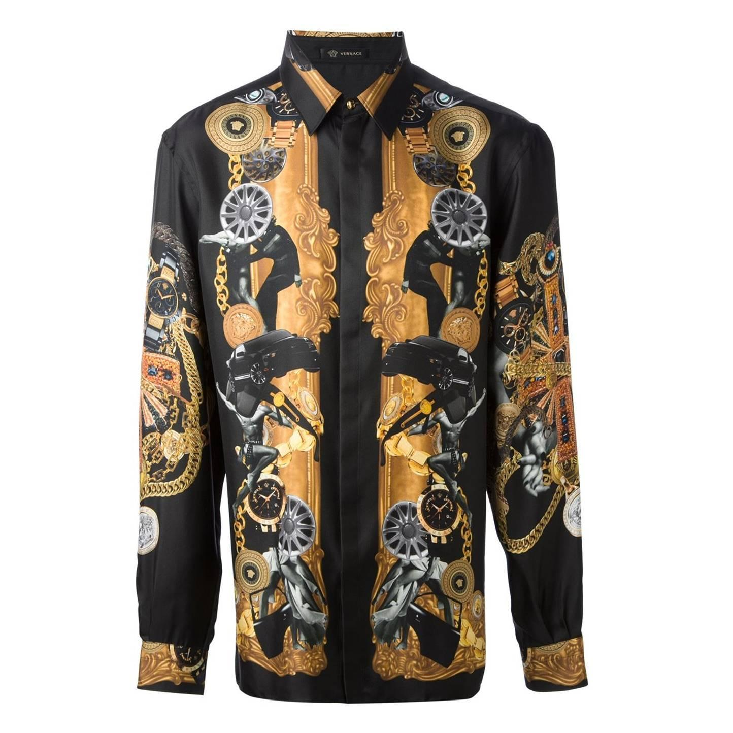 Versace 100 silk black printed men 39 s shirt for sale at for Versace style shirt mens