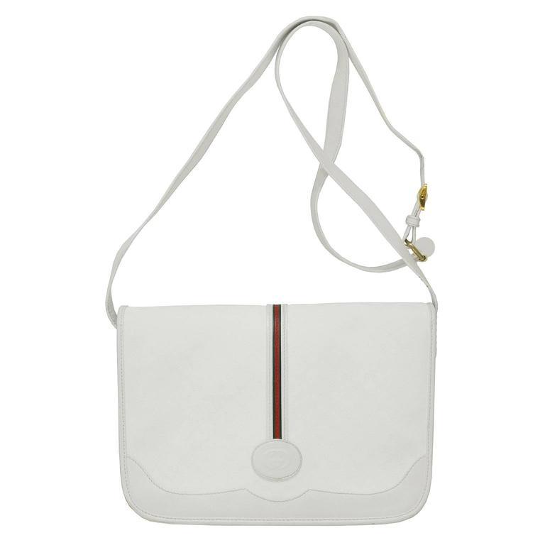 1970's Gucci White Messenger Bag  For Sale