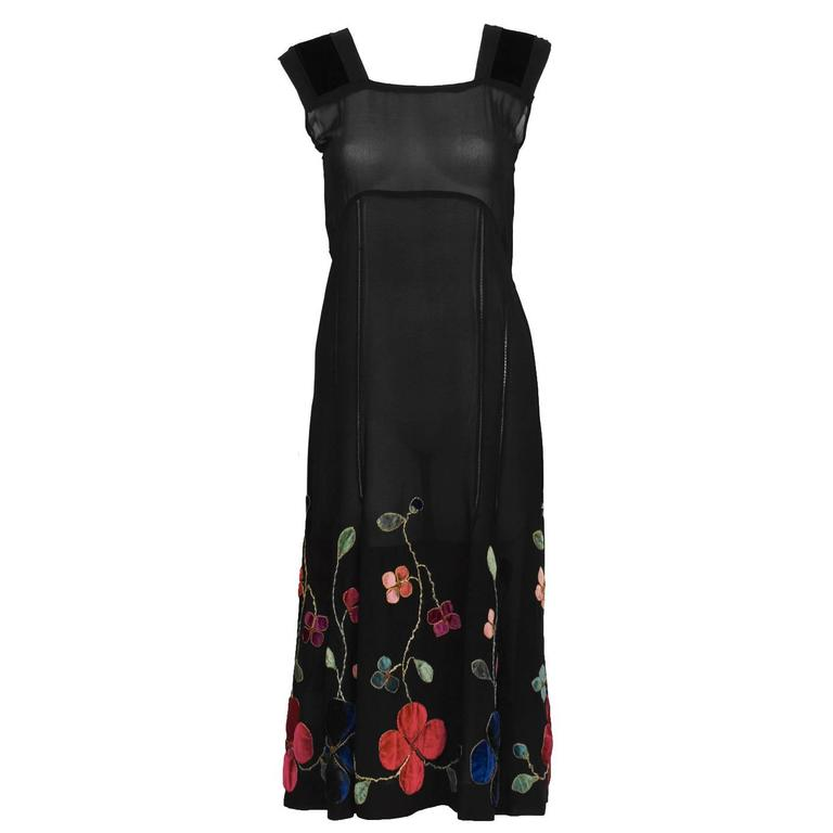 1930's Black Velvet & Chiffon Tea Dress with Floral Embroidery  For Sale