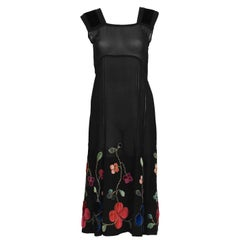 1930's Black Velvet & Chiffon Tea Dress with Floral Embroidery