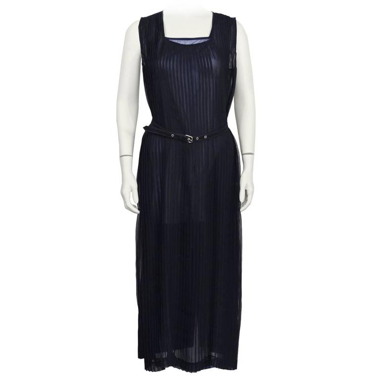 1980's Comme des Garcons Navy Pleated Dress