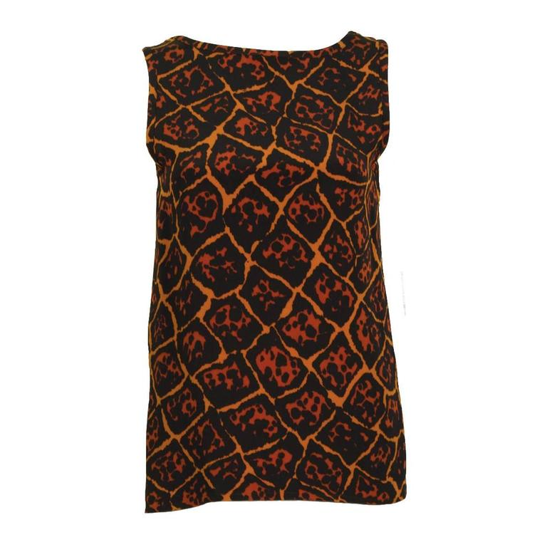 fcd77c1b2 1980 s Yves Saint Laurent YSL Leopard Print Silk Tank For Sale at ...