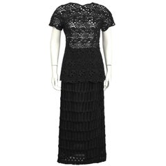 1980's Anonymous Black Guipure Lace Skirt and Top Set