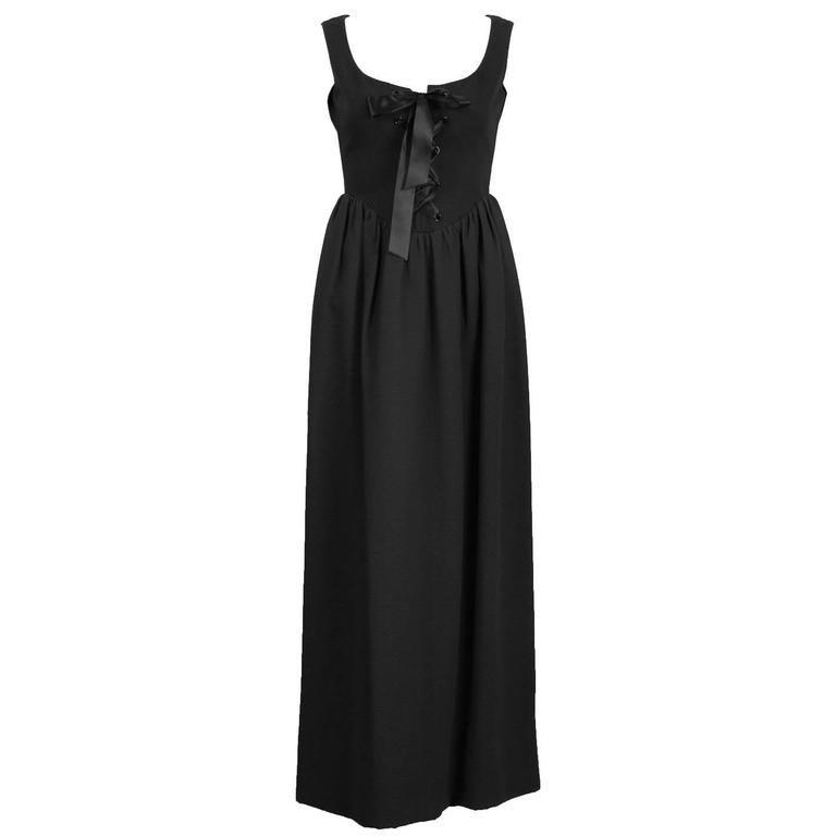 1960's Geoffrey Beene Black Cotton Pique Gown
