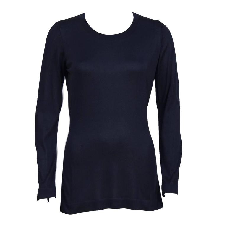 1990's Chanel Navy Classic Long Sleeve Top