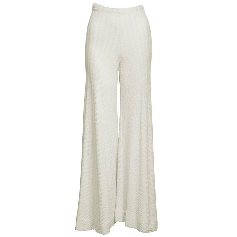 1970's Early Missoni Cream Knit Palazzo Pants  1