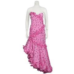 1980's Candice Fraiberger Pink Polka Dot Ruffle Gown