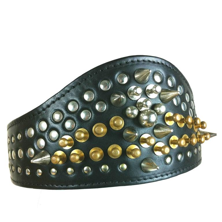 Comme des Garcons / Fleet Ilya AD 2013 Leather Studded Head Band For Sale