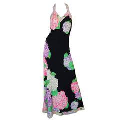 Gorgeous 1970s Silk Jersey Floral Print Leonard Halter Dress