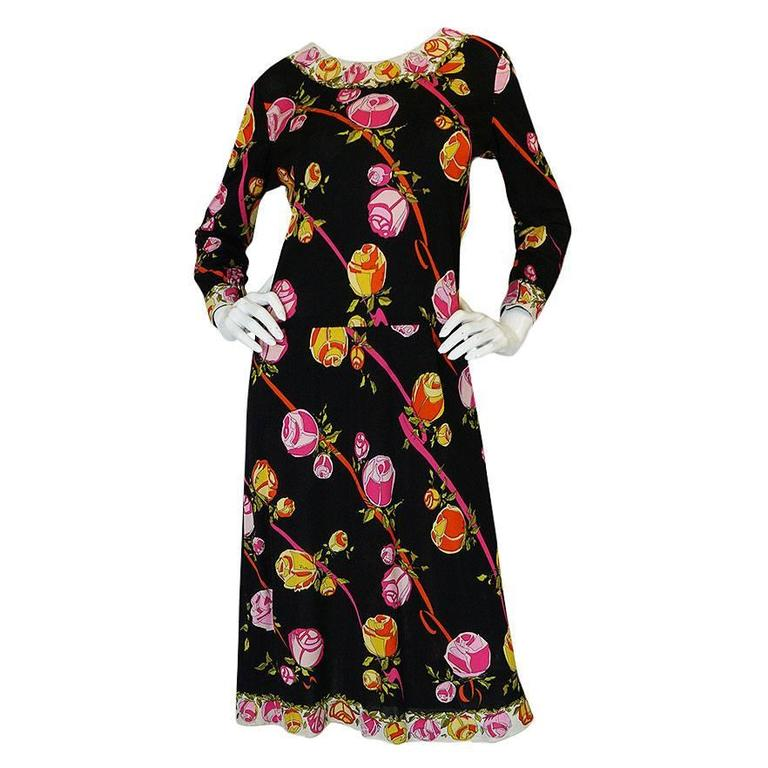 1960s Silk Jersey Pink Floral Print on Black Pucci Dress