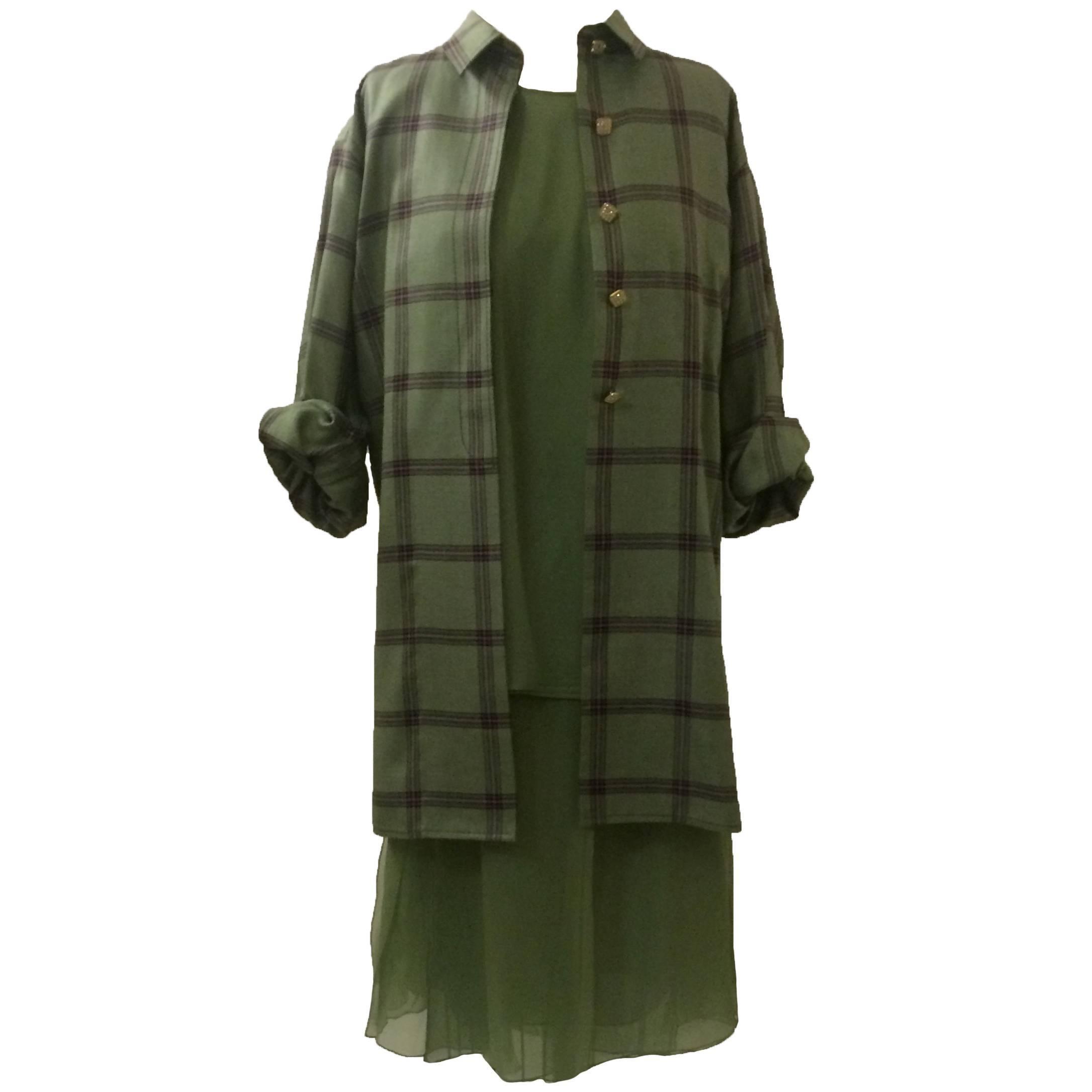 James Galanos Three Piece Green Plaid Chiffon Suit Jacket Skirt Top, 1990s