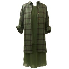 James Galanos Three Piece Green Plaid Chiffon Suit Jacket Skirt Top, 1990s