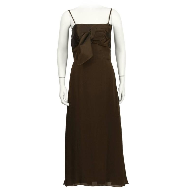 1950's Lanvin Brown Evening Dress