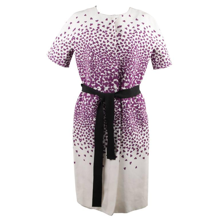 GIAMBATTISTA VALLI Cotton & Silk CLOVER Print SHORT SLEEVE DRESS Size XS 1