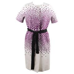 GIAMBATTISTA VALLI Cotton & Silk CLOVER Print SHORT SLEEVE DRESS Size XS