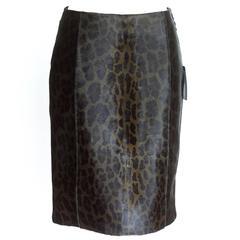 PRADA Skirt Pencil Leopard Print Calf Hair   40 / 6  NWT