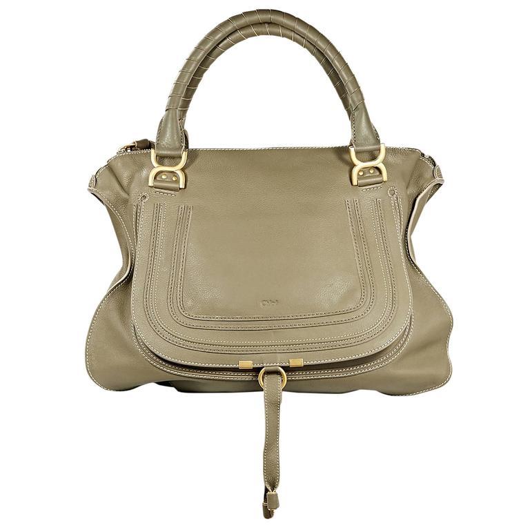 Olive Green Chloe Leather Marcie Satchel Bag For