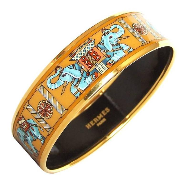 Hermes Enamel Printed Bracelet Torana Elephants Yellow GHW PM 65 1