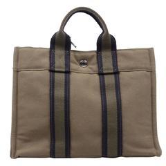 HERMES PARIS Green Cotton Canvas FOURRE TOUT PM Handbag TOTE Bag Purse
