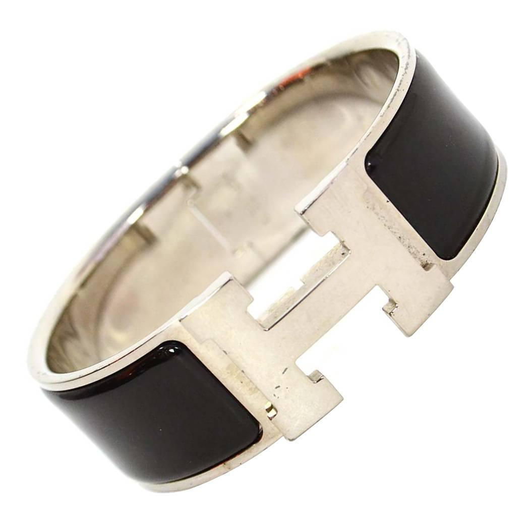 Hermes black enamel wide h clic clac pm bracelet phw for sale at 1stdibs platinumwayz
