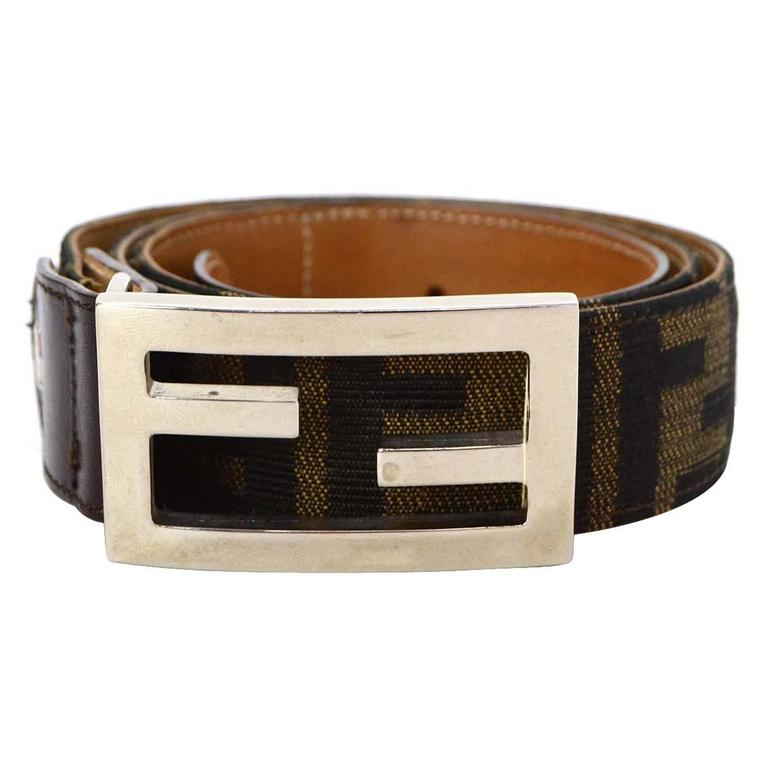 Fendi Brown Leather and Canvas Zucca Print Belt sz 80 SHW For Sale ... fa57689d5015