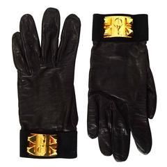 Hermes Vintage Black Leather Medor CDC Gloves sz 8 GHW