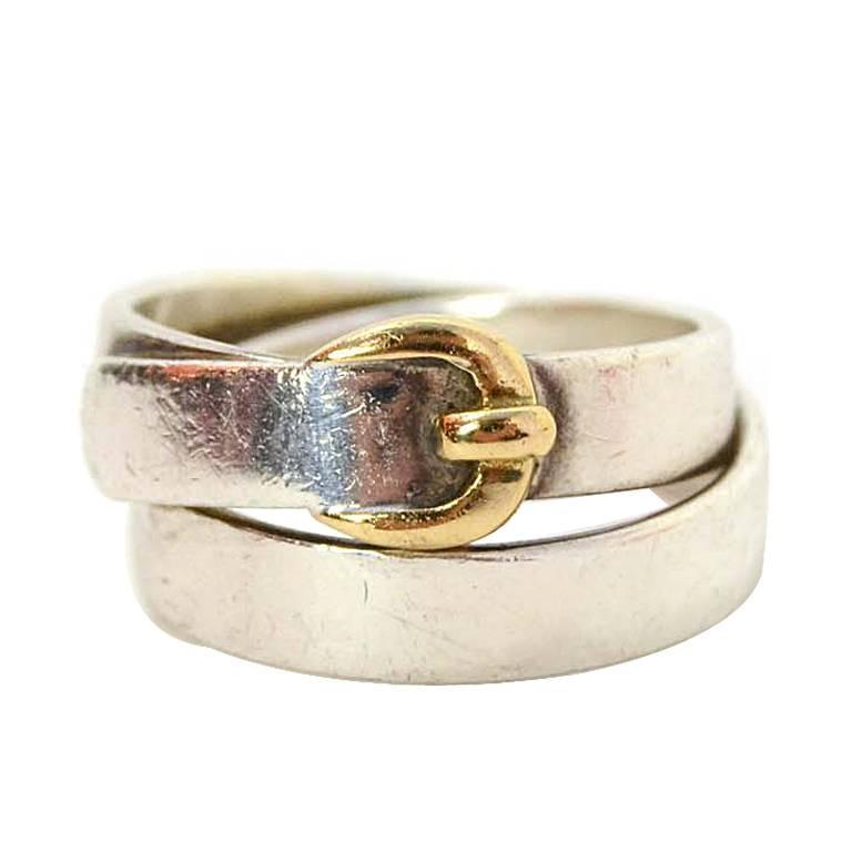Hermes Sterling & Gold Wrap Around Buckle Ring sz 48/US 4.5 For Sale