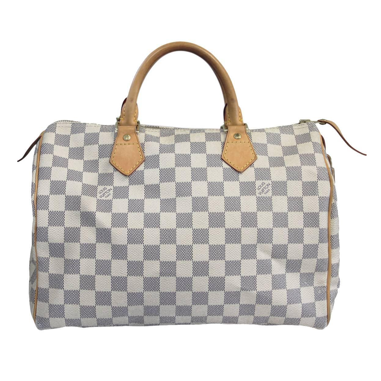 5cfe7517808f Louis Vuitton Damier Azur Speedy 30 Handbag in Dust Bag at 1stdibs