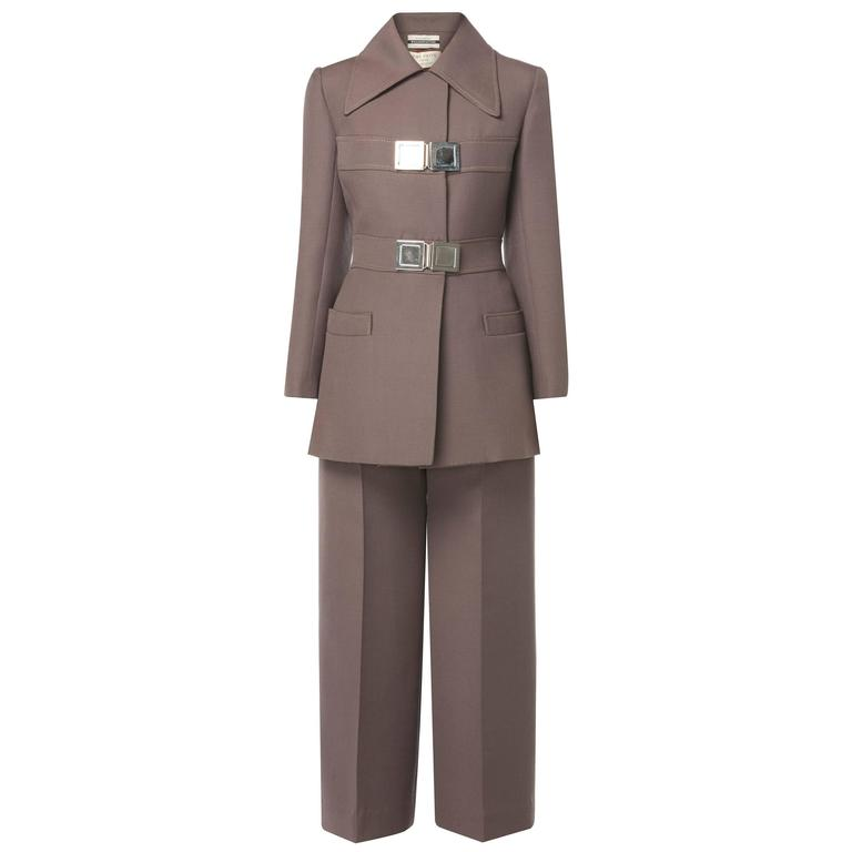 Jean Patou brown trouser suit, circa 1966